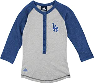 Buy Los Angeles Dodgers Grey Girls (7-16) Classic Baseball Long Sleeve T-Shirt by adidas