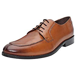 BRUNE men tan color 100% genuine leather derby shoes with split toe size-8
