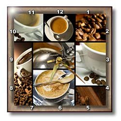 3drose dpp 28754 1 coffee themed collage wall clock 10 by 10 inch pictures - Coffee themed wall clocks ...