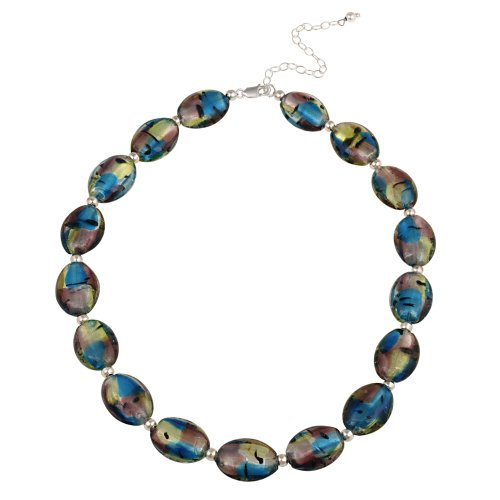 Sterling Silver Multi-Color Oval Hand Blown Glass Bead Necklace, 16+3
