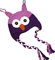 Purple Crochet Owl Hat Small