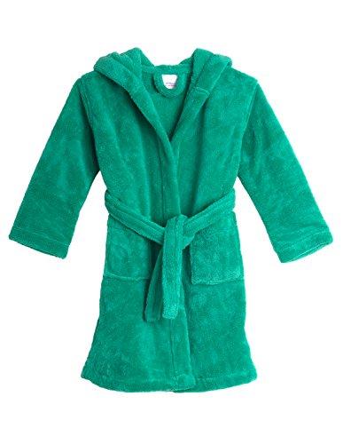 TowelSelections Little Girls' Hooded Plush Robe Soft Fleece Bathrobe Size 4 Mint Leaf
