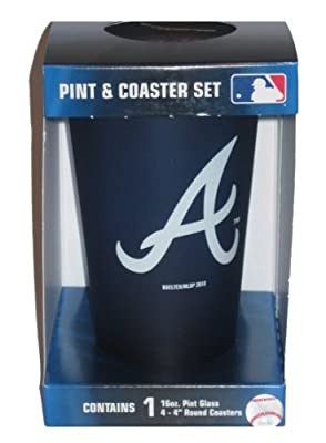 Atlanta Braves MLB 16oz Logo Frosted Pint Glass & 4 Piece Coaster Set
