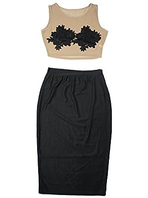 Vijiv Women's Cocktail Dress Skirt Bodycon Dresses Floral Lace Top