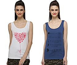 Pepperika Casual Sleeveless Printed Women's Lycra Tops (Pack Of 2)