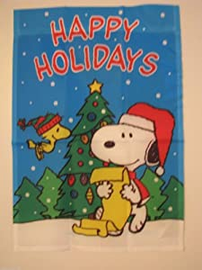 "PEANUTS SNOOPY AND WOODSTOCK HAPPY HOLIDAYS FLAG~25""x38""~SNOOPY SANTA READING A CHRISTMAS LIST~BRAND NEW AND SEALED~"