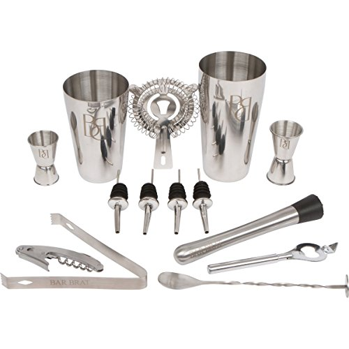 Bar Set 14 Piece Cocktail Drink Shaker Kit by Bar Brat / Perfect Barware Drink Martini Mixer For Any Home Bar / Bonus Jigger & 110 Cocktail Recipes (Ebook) Included (Metrokane Ice Crusher compare prices)