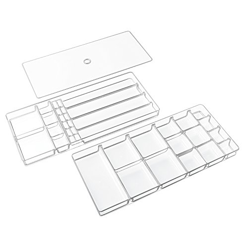 InterDesign Linus Fashion Jewelry Vanity and Drawer Organizer Tray for Rings, Earrings, Bracelets, Necklaces - 3 piece set, 37 compartments, Clear (Jewelry Drawer Organizer Tray compare prices)