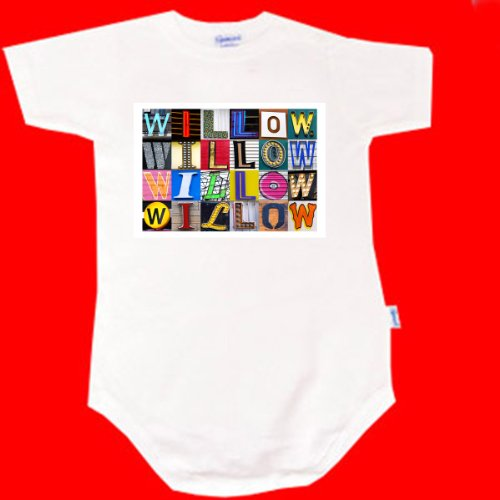 Willow Personalized Baby Onesie Bodysuit Using Sign Letters