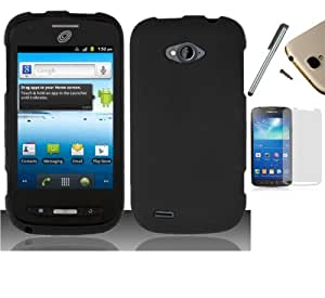 For Zte Savvy Z750C (Straight Talk) Hard Case Snap On Cellphone Rubberized Plastic Cover + [WORLD ACC] TM Brand LCD Screen Protector + Silver Stylus Pen + Black Dust Cap Free Gift (Black Rubberized)