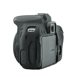 CEARI Silicone Camera Case Rubber Housing Protective Cover for Canon EOS 800D Rebel T7i Digital SLR Camera - Black (Color: Black)