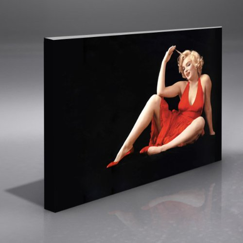 MARILYN MONROE BLACK AND RED FRAMED HUGE 42X30 CANVAS ART PRINT
