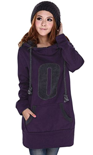 iLoveSIA -  Felpa con cappuccio  - Maniche lunghe  - Donna Deep Purple 50