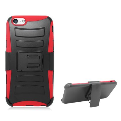 Cell Accessories For Less (Tm) **Pda**For Apple Iphone 6 Plus 5.5 Inch Armor W/Stand, Red Skin& Black Belt Clip + Bundle (Stylus & Micro Cleaning Cloth) - By Thetargetbuys