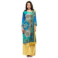 Bhelpuri Women Aqua Crepe Dress Material