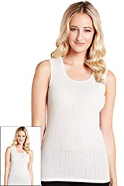 2 Pack Sleeveless Pointelle Thermal Vests