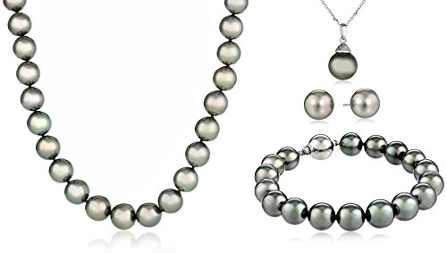 Natural Color Tahitian Cultured Pearl Pendant Necklace, Earrings And Bracelet Jewelry Set