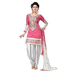 Cozer Creation Patiala Pink Cotton Dalwar Suit dress Material