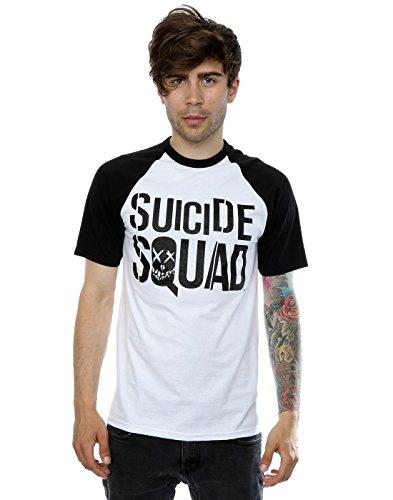 Suicide Squad Uomo Black On Black Logo Baseball T-shirt Small Bianco nero