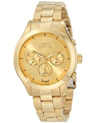Invicta Women's 12466 Angel Gold Tone Dial Gold Ion-Plated Stainless Steel Watch