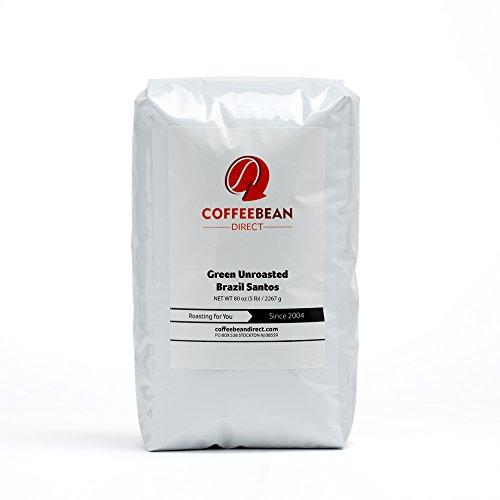 Green Unroasted Brazil Santos, Whole Bean Coffee, 5-Pound Bag