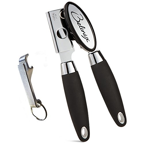 Belinix Best Manual Can Opener-Ergonomic Anti Slip Design.Professional Heavy Duty Stainless Steel,Big Knob For Easy Turn,Good Soft Grips Handle,Safety Smooth Edge No Sharp Cuts,Ideal for Arthritis (Manual Can Opener Parts compare prices)