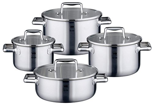 ELO Premium Multilayer Stainless Steel Kitchen Induction Cookware Pots and Pans Set with Multilayer Heating System, Easy-Pour Rim, Integrated Measuring Scale and Glass Lids, 8-Piece (German Cookware Brands compare prices)