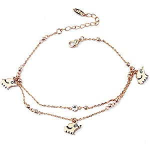 Rose Gold Tone Simple Smooth Elephant with Round Clear Cubic Zirconia Anklets Bracelets Fashion Jewelry