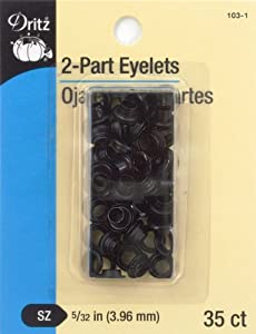 "Dritz 2-Part Eyelets - Black - 5/32"" - 35 Ct."