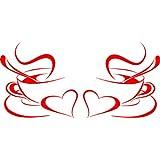 Juego de 2 tazas de café, diseño de tazas de café y corazones (sin CC2)