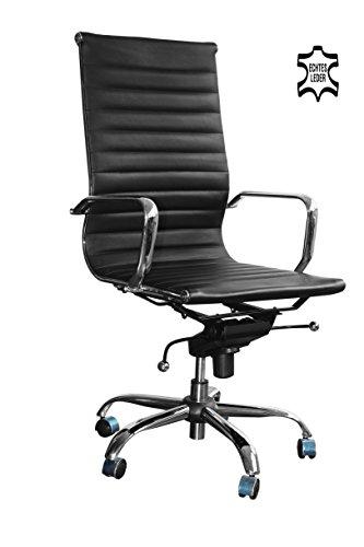 Brostuhl-Schreibtischstuhl-Drehstuhl-Chefsessel-schwarz-Echtleder-Alpha-Elegance