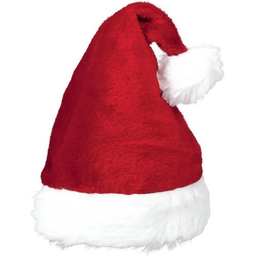 "Amscan Plush Santa Hat, 15"" by 11"", Red/White - 1"