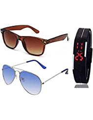 BROWN WAYFARER SUNGLASSES AND SILVER LIGHT BLUE AVIATOR SUNGLASSES WITH TPU BAND RED LED DIGITAL BLACK DIAL UNISEX...