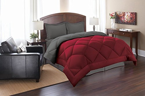 Elegant Comfort ® Goose Down Alternative Reversible 3pc Comforter Set, Full/Queen, Red/Gray