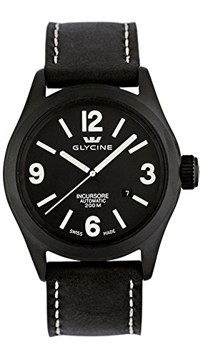 Glycine Incursore Automatic PVD Coated Stainless Steel Mens Strap Watch Black Dial Calendar 3874.99T