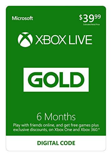 Xbox Live 6 Month Gold Membership (Digital Code)