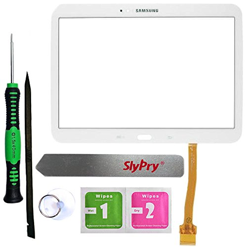 Prokit Adhesive® Samsung Galaxy Tab 3 10.1 P5200 P5210 White Touch Screen Digitizer Panel Glass Replacement Part + PreInstalled Adhesive with SlyPry® tools kit (Samsung Tab 3 Repair Kit compare prices)