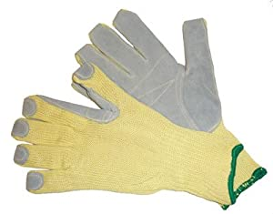 G & F 1680 CUT RESISTANT GLOVES-100% KEVLAR, Extra Long Cuff,patched with Leather plam, CE Cut Resist Level 5, Size Large (1pair)