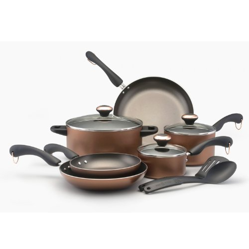 Paula Deen Signature Aluminum Nonstick Dishwasher Safe 11-Piece Cookware Set, Copper