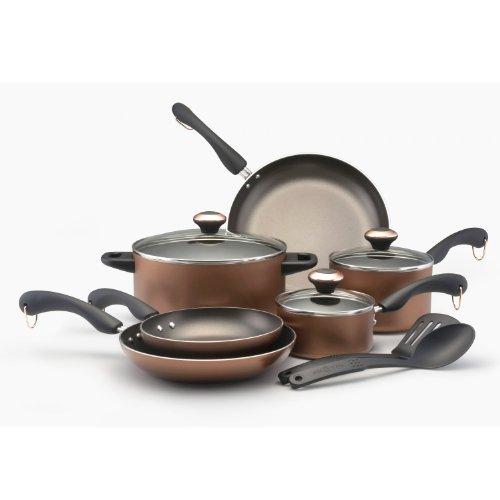 Paula Deen Signature Aluminum Nonstick Dishwasher Safe 11-Piece Cookware Set, Copper