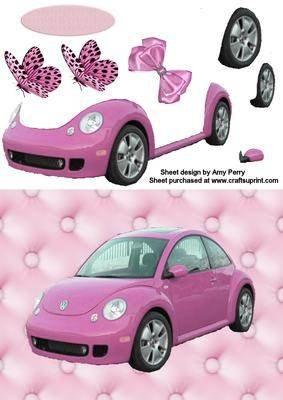 Süßer pinker Auto Halterung Halter KFZ Universal auf pinker Trägerpapier designt von Amy Perry Kulturbeutel