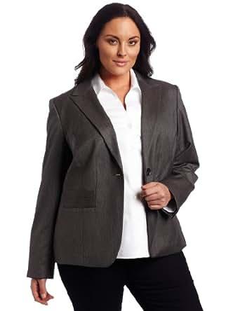 AK Anne Klein Women's Plus Size Menswear Blazer, Medium Charcoal, 20W