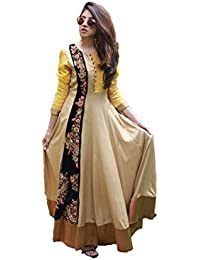 Royal Export Women's Cotton Beige Anarkali Semi-Stitched Salwar Suit