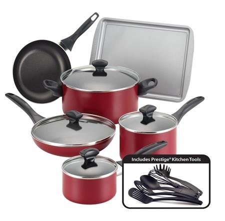 Farberware Dishwasher Safe Nonstick 15-Piece Cookware Set, Red front-69384