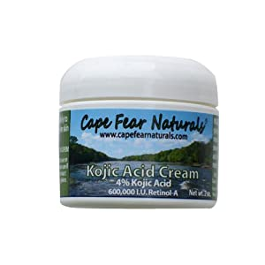 Cape Fear Naturals - Kojic Acid Cream - Natural Skin Lightener, Even Skin Tones - 2oz jar, 4% Kojic Acid