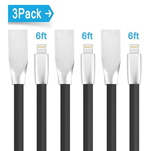 iPhone Cable Charger (Elktry) 3 Pack 6ft Flat Noodle Lightning to USB Cable Charging Data Sync Wire Cord for iPhone6 7 7plus 6plus 6s 6splus SE 5s 5c 5 iPad Pro Air 2 Mini 4 2 iPod (Elegant Black) (Metal Cable Wire compare prices)