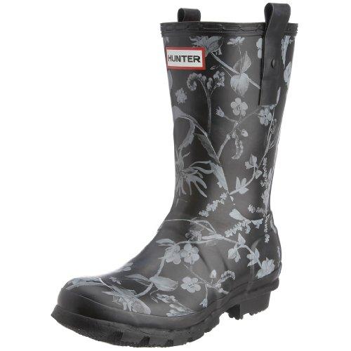 Hunter Women's RHS Short Wellies Floral Black W23604 8 UK