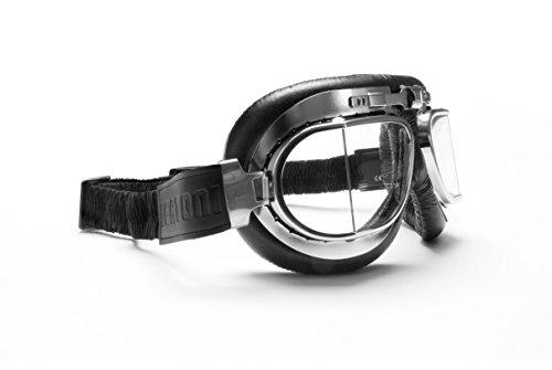 Maschera moto in pelle nera con lenti squadarate anni '50 e profilo in acciaio , by Bertoni Italy AF193CR