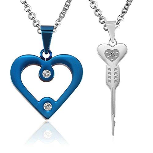 Donna Uomo catena Collane acciaio inossidabile coppia Heart & Collegamenti Blu Argento di AieniD