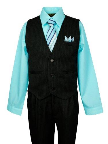 Spring Notion Boys Pinstripe Dress Shirt Vest & Pants Set Aqua 6 front-809225